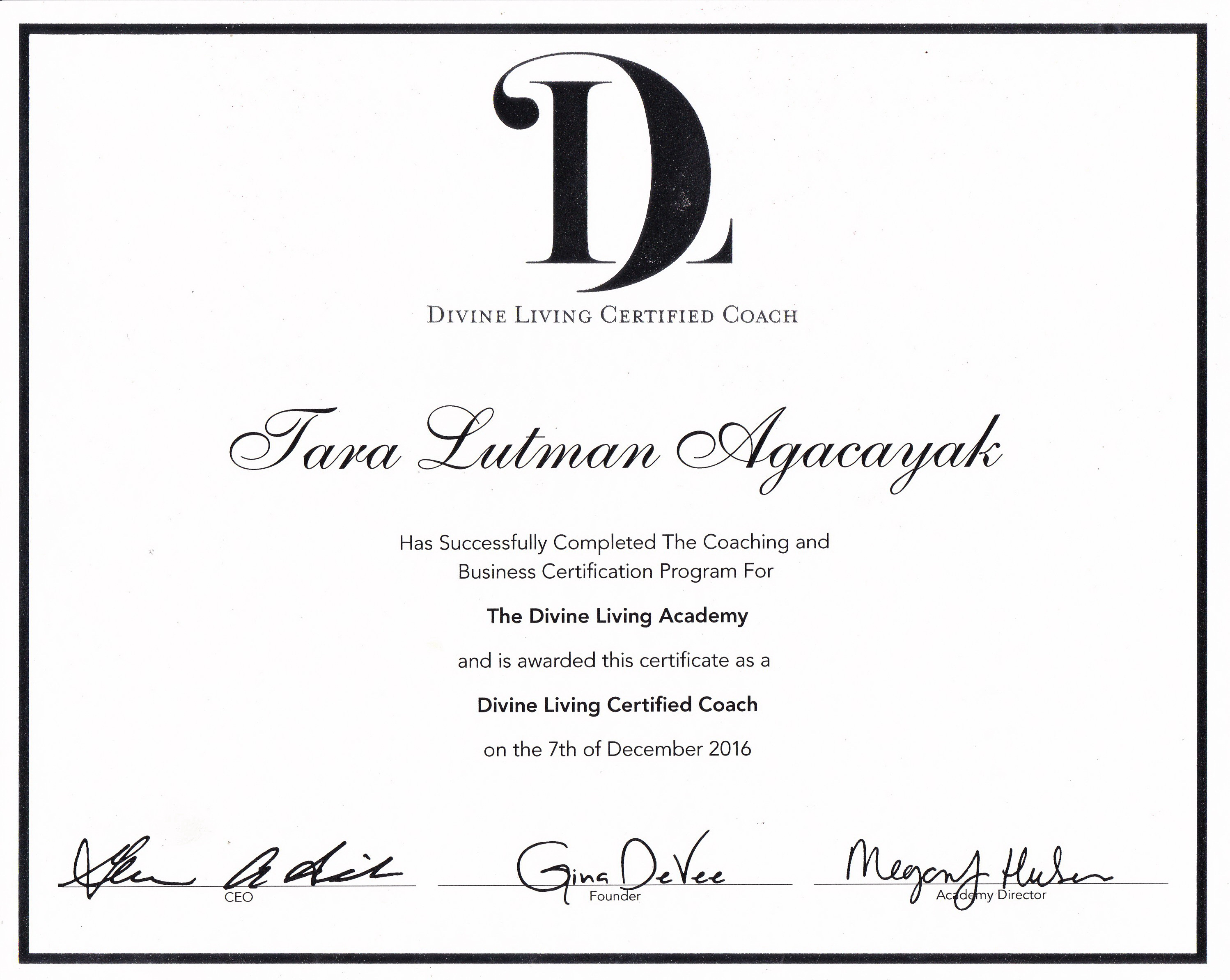 Divine living academy coaching certificate xflitez Choice Image